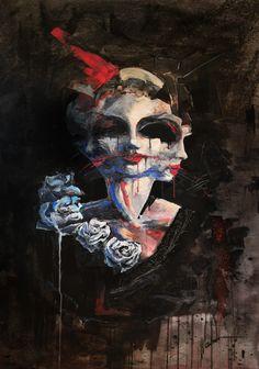 painting by Tomasz Machoń cm acrylic art woman roses faces dark Acrylic Art, Female Art, Master Chief, Roses, Woman, Dark, Painting, Fictional Characters, Woman Art