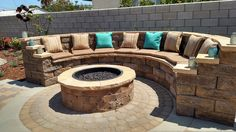 Fire pit with cushioned seating