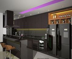 Cozinha com mix de materiais - revestimento carbone delux na cor petróleo @decortiles + armários em laca fosca + balcão e bancada da pia em Silestone stellar preto + Madeira Projeto @dileia_bezerra