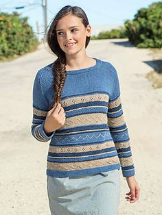 Knit in the round from the bottom up, Jeanie is a casual, comfy sweater to knit for spring and summer.
