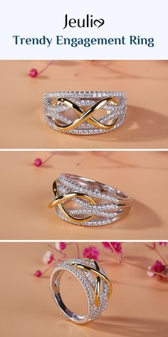 Check this out from jeulia! Jeulia Two Tone Infinity Sterling Silver Women's Band - Bride & Wedding Network : Explore & Discover the best and the most trending wedding ideas Around the world Gold Ring Indian, Indian Wedding Rings, Indian Engagement Ring, Wedding Rings Simple, Round Diamond Engagement Rings, Fancy Jewellery, Gold Rings Jewelry, Jewelry Design Earrings, Gold Earrings Designs