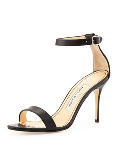 Chaos Leather Ankle-Wrap Sandal, Black by Manolo Blahnik at Neiman Marcus.