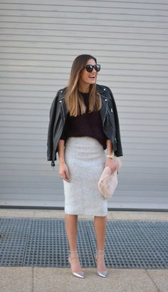 Leather jacket and femme pencil skirt