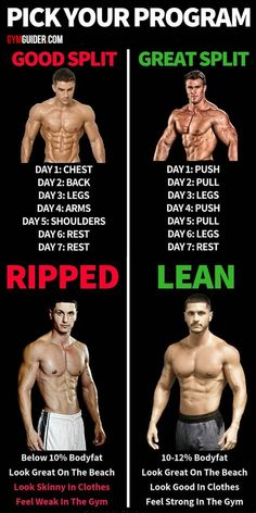Training splits can be a mystery. With so many available options and possibilities, it's easy to be confused about which splits are effective, and which are poorly structured. If you've ever wondered. Full Body Workout Routine, Gym Workout Chart, Gym Workout Tips, Workout Men, Workout Routines, 10 Week Workout, Workout Schedule, Workout Motivation, Workout Challenge