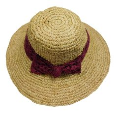 Crochet Raffia Sun Hat with Lace Scarf