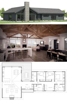 House Plans Architecture Layout 17 New Ideas Barn House Plans, New House Plans, Dream House Plans, Small House Plans, House Floor Plans, Craftsman Style Kitchens, Country Kitchens, Farmhouse Architecture, Architecture Layout