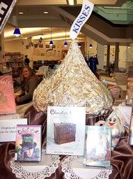 Chocolate Display - cookbooks, chocolate wars, hershey history, willy wonka, health benefits