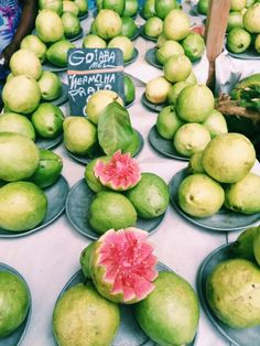 Sampling different types of tropical fruits at a farmer's market type fair like fresh guava in Rio de Janeiro, Brazil