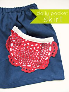 Simple Simon & Company: Skirting the Issue: Doily Pocket Skirt. I could use some cool crochet designs to update the look a bit, but I like the basic idea especially on a jean skirt. Paper Doily Crafts, Doilies Crafts, Crochet Doilies, Diy Clothing, Sewing Clothes, Sewing Hacks, Sewing Tutorials, Look Fashion, Diy Fashion