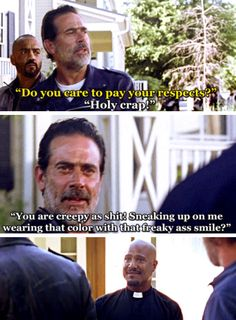 Its collar, but whatever. Still funny. The Walking Dead Season 7 Episode 4 'Service' Negan - meets Father Gabriel - Walking Dead Quotes, Walking Dead Funny, Walking Dead Season, Fear The Walking Dead, Walking Dead Zombies, The Walk Dead, Twd Memes, Stuff And Thangs, Dead Man