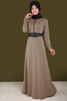 Deri Detay Aksesuar Düğmeli Elbise Vizon Ürün kodu: MDB3849 --> 84.90 TL
