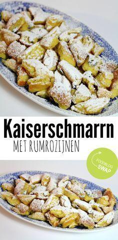 Oostenrijkse kaiserschmarrn, een heerlijk luchtige variatie op de Hollandse pannenkoek. Maar dit is wel de OngewoonLekker versie met rumrozijnen! :D