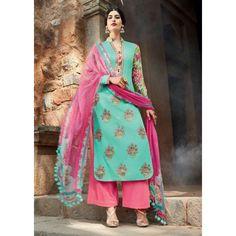 Turquoise Cotton Party Wear #Plazzo Kameez With Dupatta- $46.47