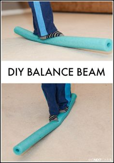 A way to create a balance beam inside. Children are able to work on their balance and gross motor skills. Add this pool noodle balance beam to an indoor obstacle. Kids Olympics, Summer Olympics, Sensory Activities, Toddler Activities, Sensory Rooms, Proprioceptive Activities, Vestibular System, Physical Activities, Dance Activities For Kids