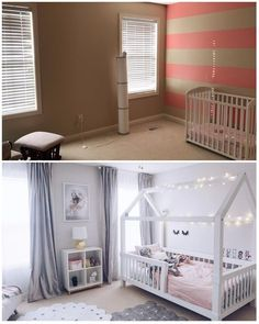 Toddler girl bedroom before and after, baby nursery, montessori bed, white and grey toddler bedroom Toddler Twin Bed, Toddler Floor Bed, Toddler Rooms, Baby Bedroom, Girls Bedroom, Girl Toddler Bedroom, Big Girl Bedrooms, Home Decoracion, Girl Room