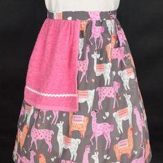 Llamas in Love ladies half towel apron by Pompin Bleu.  www.pompinbleu.com