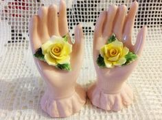 Radnor bone china hand with roses figurines / hall bros