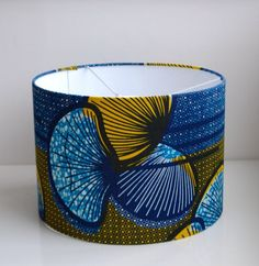 Items similar to Blue,Yellow/Mustard/Black/Graphic Lampshade- African Wax Print Drum on Etsy