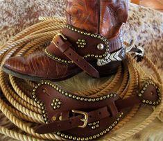 Old Time Western Spur Straps with Spots