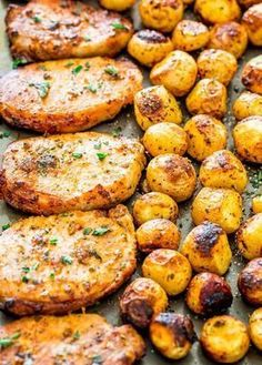 Ranch Pork Chops and Potatoes Sheet Pan Dinner - get out your sheet pan to make this delicious and easy dinner with ranch pork chops and potatoes! dinner recipes sheet pan Ranch Pork Chops and Potatoes Sheet Pan Dinner Pork Chop Recipes, Meat Recipes, Cooking Recipes, Healthy Recipes, Chicken Recipes, Easy Dinner Recipes Pork, Easy Cooking, Cooking Food, Simple Recipes