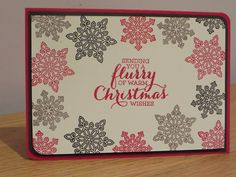 Christmas Card idea using Flurry of Wishes by Stampin' Up, handmade using Real Red, Early Espresso and Tip Top Taupe,