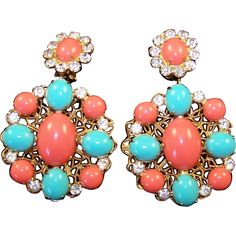 K.J.L. KENNETH J. LANE 1960's Coral, Turquoise and Diamante Pendant Earrings