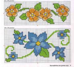 cross stich orange and blue flowers border