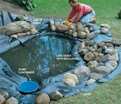Build your own pond and waterfall, then stock it with plants and fish. Learn the basic techniques for creating a relaxing water feature in your own backyard Outdoor Ponds, Ponds Backyard, Garden Ponds, Backyard Ideas, Backyard Stream, Outdoor Fountains, Outdoor Stone, Building A Pond, Diy Pond