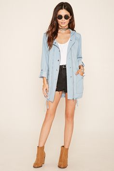 Hooded Chambray Parka Jacket | Forever 21 - 2000052360