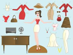 Paper doll  http://www.chicaandjo.com/2009/08/28/paper-dolls-and-gorgeous-printables/