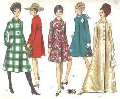 Vogue 1885 Vintage 60s A-Line Dress Coat 3 Lengths Pattern B31 Size 8