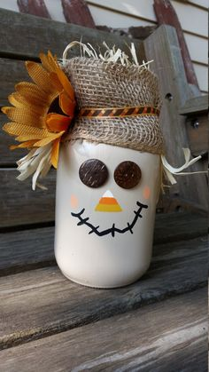 Quart size scarecrow mason jar by CraftySouthernCharms on Etsy