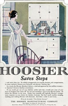 An ad for a Hoosier cabinet! Kitchen Gallery - Kitchen flooring, cabinetry, nooks, and plumbing - Vintage Kitchen Design Inspiration 1920s Kitchen, Old Kitchen, Vintage Kitchen, Kitchen Decor, Kitchen Ideas, Kitchen Cousins, Kitchen Queen, Kitchen Stuff, Kitchen Design