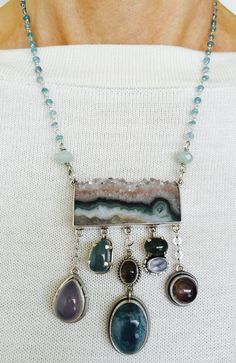 Amy Kahn Russell Geode Pendant Necklace with Gemstone Drops