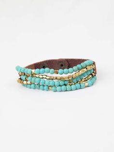 Leather + Beads Bracelet