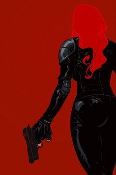 [Fanart: A greyscale and red image of Natasha Romanoff; she has her back to the viewer and is holding a gun in one hand] lulubonanza: Black Widow by ~Trabbold Marvel Comics, Hq Marvel, Marvel Girls, Marvel Heroes, Marvel Women, Comic Book Characters, Marvel Characters, Comic Character, Comic Books Art