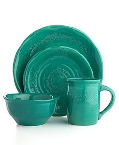 A collection of teal dinnerware available from Macy's. Teal is the color of ovarian cancer awareness.