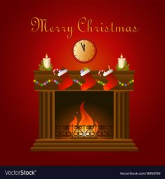 Christmas decoration around fire vector image on VectorStock
