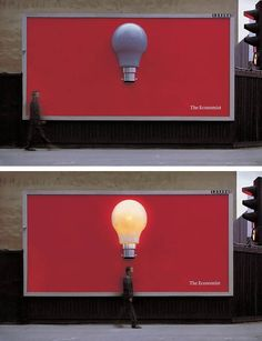 Guerrilla Marketing - Clever ad for The Economist. The bulb goes on through sensors as people pass by