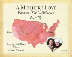 Mother's Day Gift Idea, Long Distance Gift for Mom, Birthday Gift for Mom, Going Away Gift for Mom, A Mothers Love Gift Print, Long Distance Quote Canvas by KeepsakeMaps on Etsy
