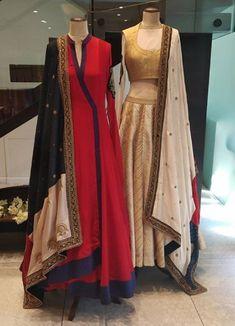 Beautiful Gown and Lehenga-Choli with embellished dupatta. Red Lehenga, Anarkali Dress, Lehenga Choli, Saree Gown, Bridal Lehenga, Indian Wedding Gowns, Indian Dresses, Indian Outfits, Indian Clothes