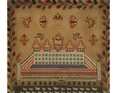 A 19th century sampler depicting the Temple of King Solomon