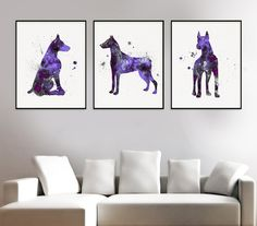 Doberman Art, Set Of 3 Prints, Doberman Print, Watercolor Doberman, Doberman…