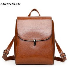 High Quality Pu Leather backpack Fashion Solid Women Backpack Hot Sale Backpacks For Teenage Girls School Bags Vintage Back Pack