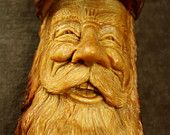 Wood Carving of a Wood Spirit Art Sculpture Wall Hanging Present, A Log Cabin Wall Decor Christmas Gift