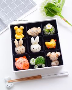 Miffy & friends rice balls by Little Miss Bento Official ( Kawaii Bento, Cute Bento, Easy Japanese Recipes, Japanese Food, Bento Box Lunch For Kids, Lunch Box, Bento Recipes, Bento Ideas, Cafe Food