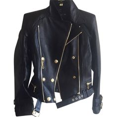 Pre-owned Balmain X H&m Motorcycle Jacket (855 AUD) ❤ liked on Polyvore featuring outerwear, jackets, blac, genuine leather jacket, leather jacket, leather motorcycle jacket, rider jacket and black biker jacket