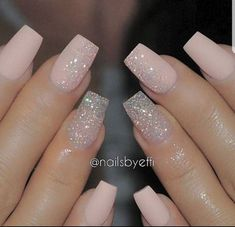Pretty Pink Acrylic Nails With Sparkle