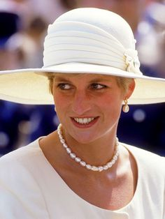 The Princess of Wales visits RAF Cranwell in Lincolnshire on her wedding anniversary, July She is wearing a cream Catherine Walker suit and Philip Somerville hat. (Photo by Jayne Fincher/Princess Diana Archive/Getty Images) Lady Diana Spencer, Princesa Diana, Royal Princess, Princess Of Wales, Princess Diana Jewelry, Catherine Walker, Diana Fashion, Isabel Ii, Diane