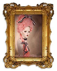 Rococo Pink Powdered Wig La Reine Pink Marie by AntoinettesAtelier, $449.95